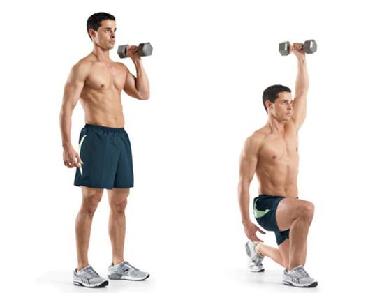 Bài tập Single-Arm Reverse Lunge And Press