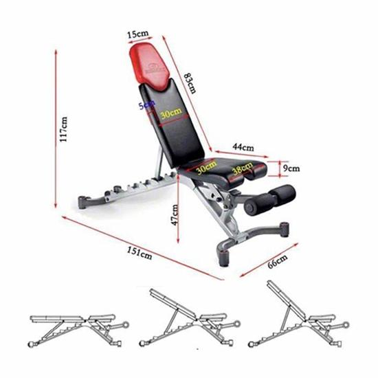 Kích thước ghế tập tạ Bowflex