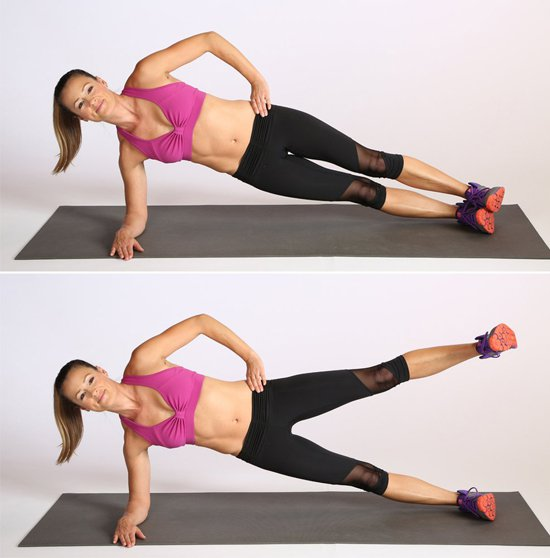 Plank nghiêng nâng cao chân
