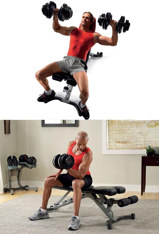 Sử dụng ghế tập tạ Bowflex