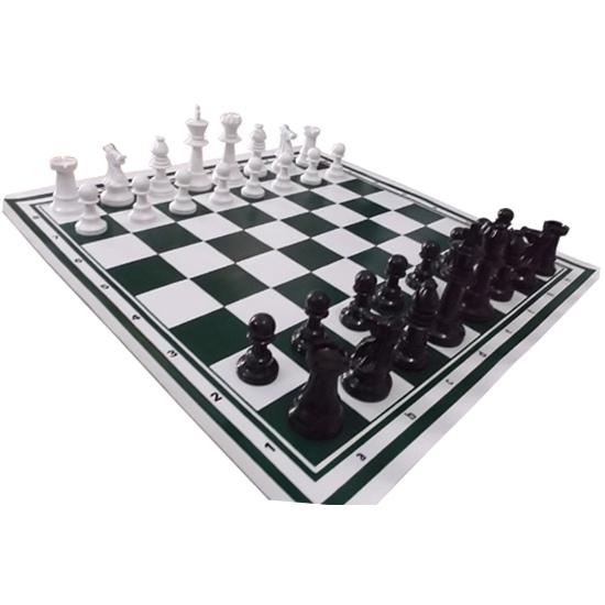 Bộ cờ vua nhựa có bàn cờ bằng da giá rẻ dùng cho trường học